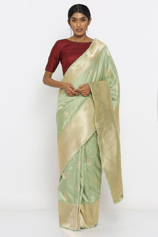 Tea Green Handloom Pure Silk Banarasi Saree with Allover Zari Motif and Chevron Border and Pallu