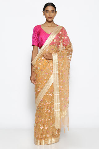 Peach Pure Sheer Silk-Organza Saree with All Over Floral Embroidery