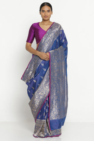 Deep Blue Handloom Pure Banarasi Silk Saree with Rich Floral Motifs