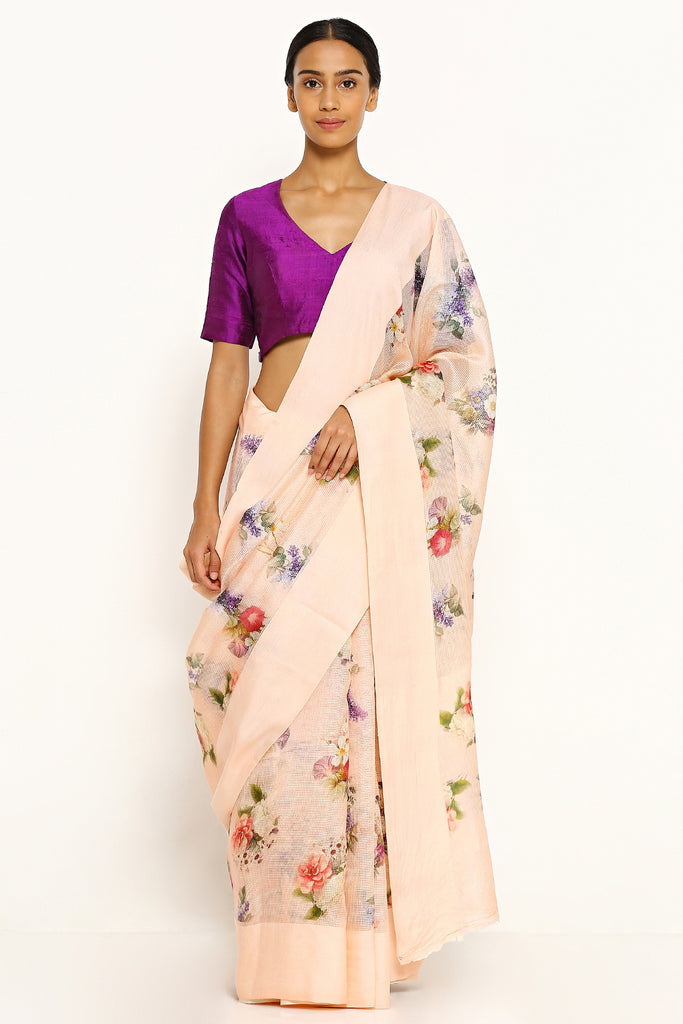 Peach Pure Kota Silk Saree with All Over Floral Print