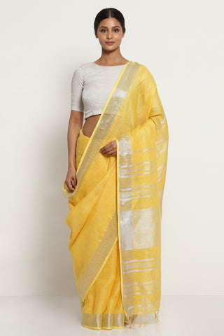 Yellow Pure Linen Saree with Silver Zari Border and Striking Blouse