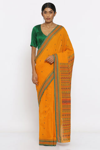 Yellow Sambalpuri cotton saree wirth all over woven buttis and green temple border traditional thread abstract designs over pallu