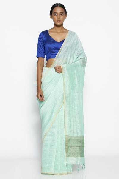 Via East moonlight blue linen saree with all over gold zari checked pattern