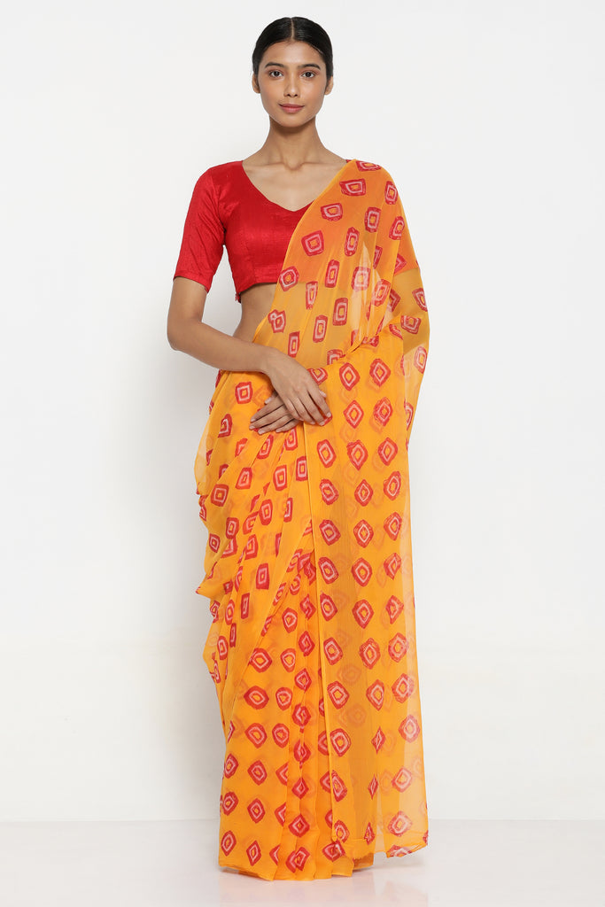 Mustard Yellow Chiffon Saree with Traditional Bandej Print and Contrasting Red Blouse
