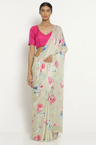 Beige Silk Satin Saree with All Over Floral Print