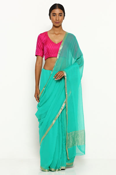 Via East ocean blue pure chiffon saree with gold zari border