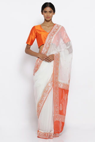 White Pure Chiffon Banarasi Sheer Saree with All Over Silver Zari Motifs and Rich Border
