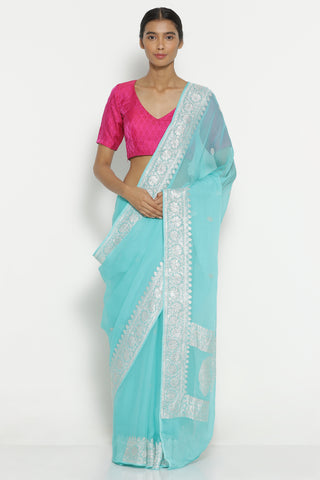 Ocean Blue Handloom Pure Chiffon Banarasi Saree with All Over Silver Zari Motifs