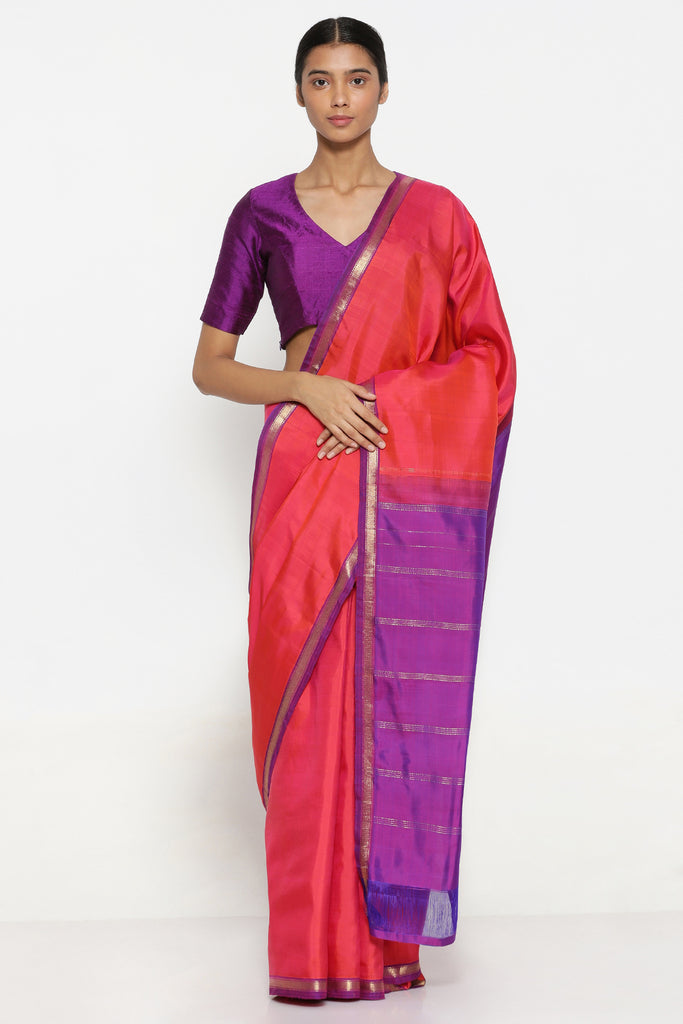 Pink Handloom Pure Silk Kanjeevaram Saree with Pure Zari Border and Contrasting Pallu