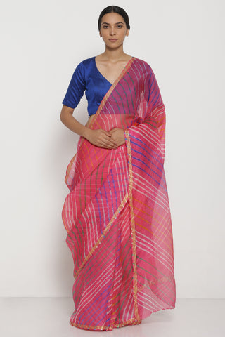Pink and Blue Pure Silk Kota Saree with Traditional Leheriya Pattern