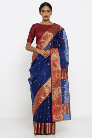 Deep Blue Handloom Silk Chanderi Sheer Saree with Allover Zari Motif and Detailed Border