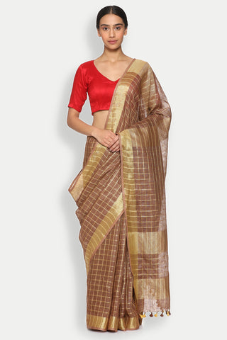 Beige Pure Linen Saree with All Over Checked Pattern