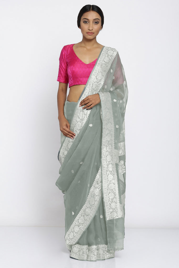 Moss Green Handloom Pure Chiffon Banarasi Saree with All Over Zari Motif and Rich Border