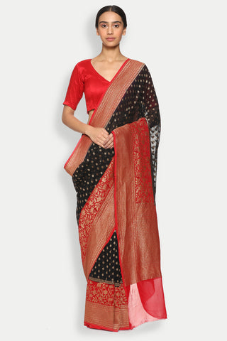 Black Handloom Pure Silk-Georgette Banarasi Saree with All Over Antique Gold Motifs