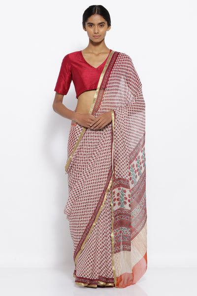 Via East cream pure chiffon saree with all over red floral motifs and gold zari border