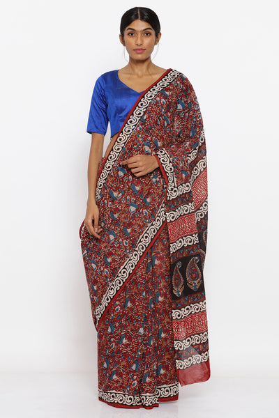 Via East maroon handloom pure cotton sareee with traditional kalamkari hand block print