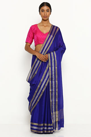 Royal Blue Pure Silk Crepe Saree with Silver and Gold Zari Border