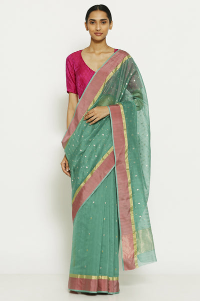 Via East teal blue handloom pure silk chanderi saree with all over traditional gold motifs