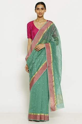 Teal Blue Handloom Pure Silk Cotton Chanderi Saree with All Over Traditional Gold Motifs