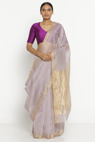 Lavender Handloom Pure Silk Cotton Chanderi Saree with All Over Gold Zari Checks