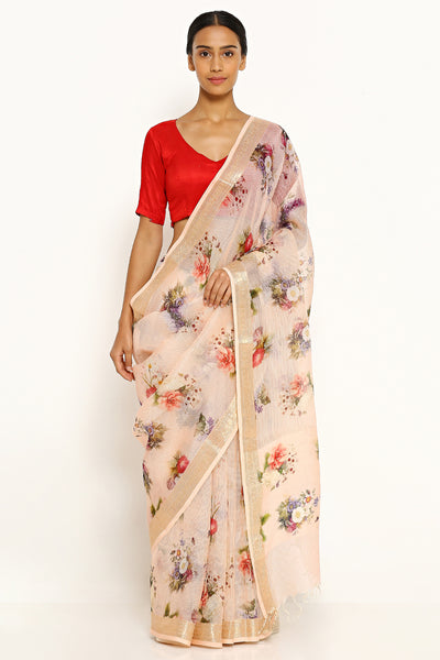 Via East caramel pure kota silk saree with all over floral print