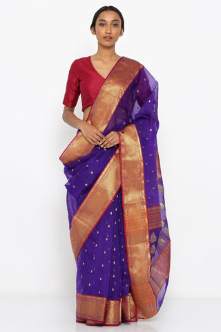 Violet Handloom Pure Silk Chanderi Sheer Saree with Allover Zari Motif and Detailed Border