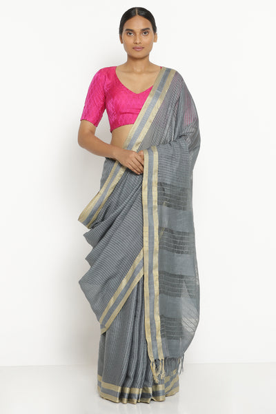 Via East charcoal grey handloom pure cotton kota saree with all over checked pattern