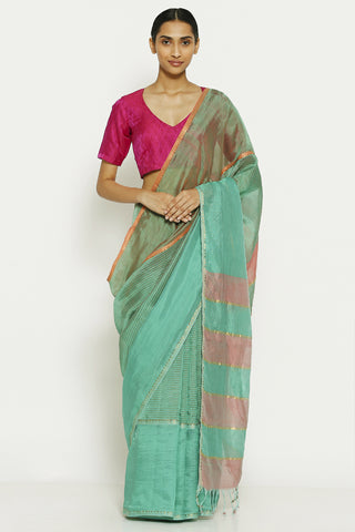 Ocean Blue Handloom Pure Cotton Tissue Maheshwari Saree with Gold Zari Border