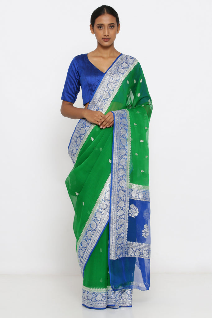 Green Handloom Pure Chiffon Banarasi Saree with Zari Motif and Blue Border