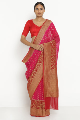 Pink Pure Silk Georgette Banarasi Saree with All Over Motifs Antique Zari Border