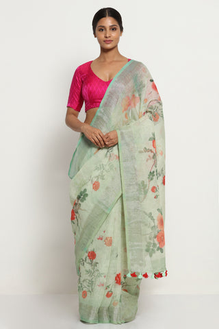 Marble Green Pure Linen Saree with All Over Floral Print and Silver Zari Border