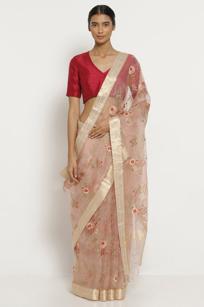 Pale Pink Handloom Pure Silk-Organza Saree with All Over Embroidered Floral Motifs