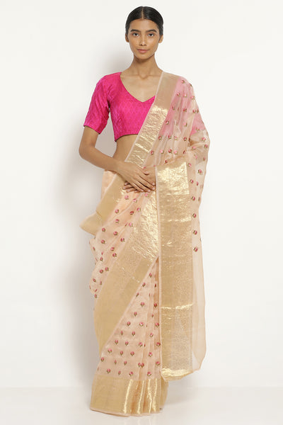 Via East pale pink handloom pure silk organza saree with all over floral embellishments