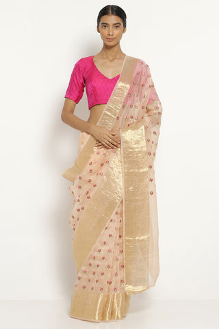 Pale Pink Handloom Pure Silk-Organza Saree with All Over Floral Embellishments
