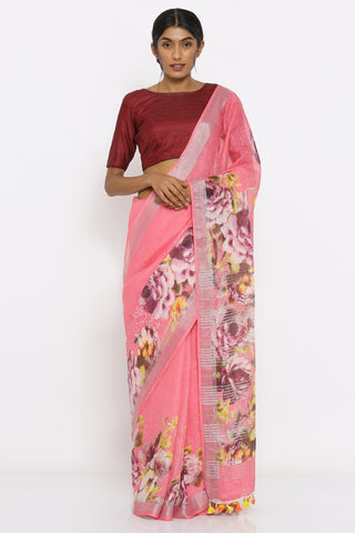 Pink Handloom Linen Saree with Floral Print and Silver Zari Border