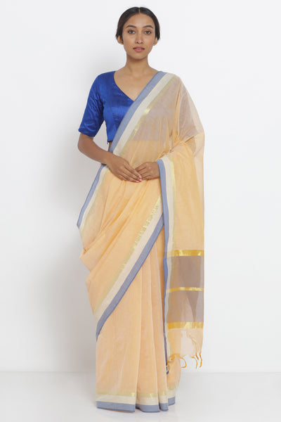 Via East light yellow handloom pure cotton saree with woven border and pallu