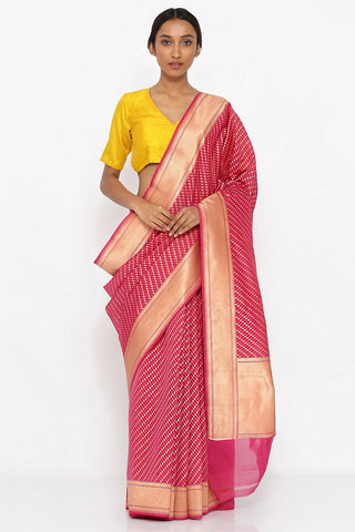 Pink Silk Cotton Banarasi Saree with Allover Gold Motif and Woven Border