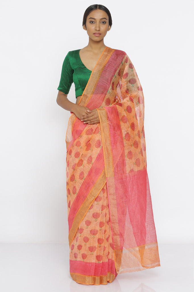 Peach Handloom Pure Silk-Linen Saree with All Over Floral Print and Gold Zari Border