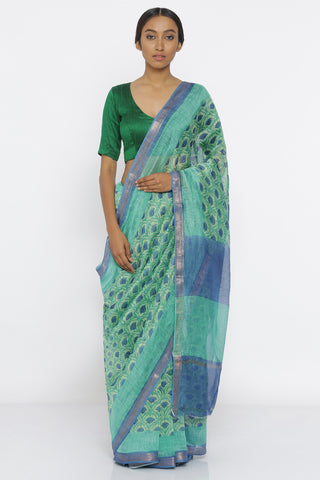 Green Handloom Pure Silk-Linen Saree with All Over Floral Print and Blue Zari Border