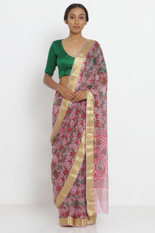 Light Pink Handloom Pure Chiffon Saree with All Over Floral Print