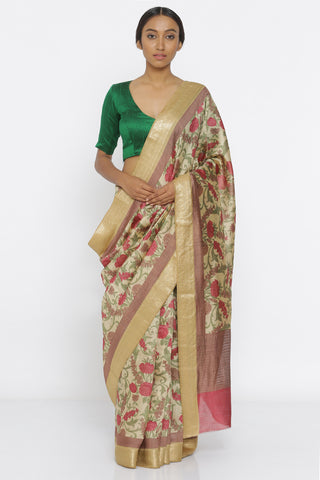 Beige Handloom Pure Munga Silk Saree with All Over Floral Print and Intricate Gold Zari Border
