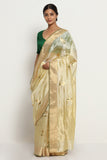 Beige Handloom Pure Silk Chanderi Saree with All Over Motifs and Rich Gold Zari Border