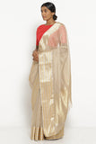 Beige Handloom Silk Cotton Chanderi Saree with Gold and Silver Woven Border