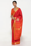 Scarlet Red Handloom Pure Silk Kanjeevaram Saree with All Over Pure Zari Motifs and Traditional Gold Zari Border