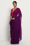 Deep Violet Pure Chiffon Saree with Traditional Leheriya Print
