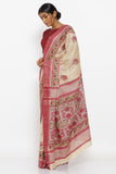 Beige Handloom Pure Tussar Silk Saree with Floral Block Print and Detailed Pallu