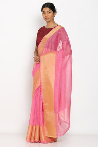 Light Pink Handloom Pure Cotton Saree with Rich Zari Border