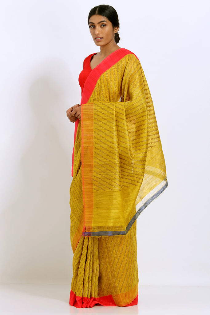 Yellow Handloom Pure Silk Banarasi Saree With Woven Gold work and Red Border