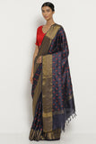 Deep Blue Handloom Pure Tussar Silk Saree with All Over Floral Embroidery