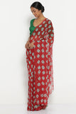 Red Chiffon Saree with All Over Traditional Bandhini Print